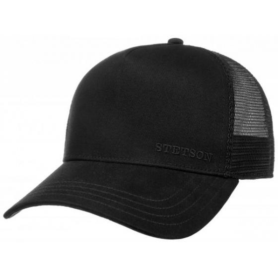 Trucker Baseball Cap Black Cotton- Stetson