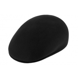 Bombée black wool cap