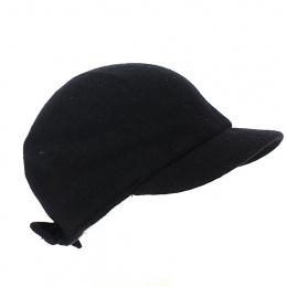 Cap Gavroche Mélania Black Wool - Traclet