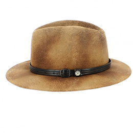 Fedora Kalo Imitation Leather Brown Hat - Traclet