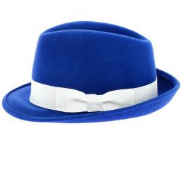 Chapeau Trilby Albastru Feutre Laine Bleu - Traclet