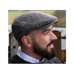 Casquette plate chevrons gris chiné - Hanna Hats