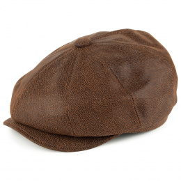 8 ribbed leather cap