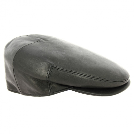 Casquette Plate Bartolini Cuir Noir - Traclet