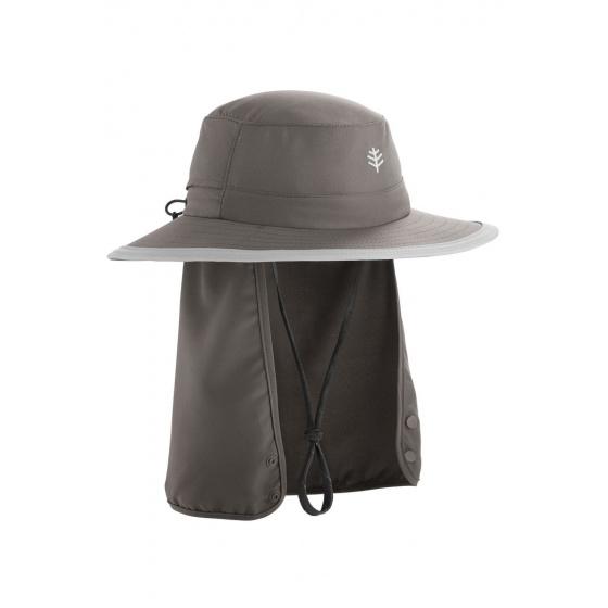 Boating Hat Grey & Beige Neck Cover - Coolibar