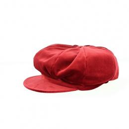 Casquette forme Gavroche en velours rouge/bordeaux - Traclet